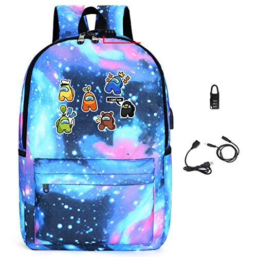 Among Us Game Printing Backpack, Kids Schoolbag with Coded Lock Students Bookbag Laptop/Computer Bag for Boys Girls Teens Game Fans Gifts (E)