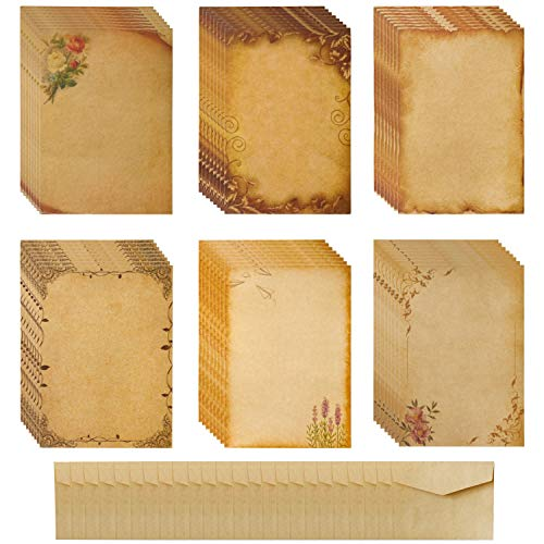 Briefpapier Set, Vintage Briefumschläge und Umschlag Set 48 Briefpapier mit 24 Briefumschläge Retro Umschläge Motivpapier Notizpapier für Hochzeits Einladung Grußkarten Crafting