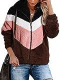 Women's Fuzzy Fleece Full Zip Faux Shearling Coat Color Block Warm Sherpa Jacket with Pockets