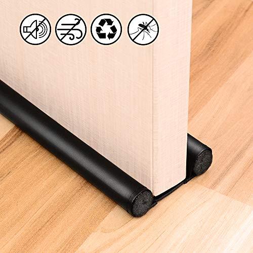 KLOLKUTTA Door Draft Stopper Adjustable Sound Proof Noise Reduction Energy Saving Dust Proof Black