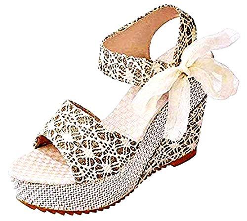 Zapatos de tacón Mujer - Sandalias - Sexy - cómodas - Elegantes - Adultos - niña - Color Beige - cuña - Idea de Regalo de cumpleaños - - Talla 36