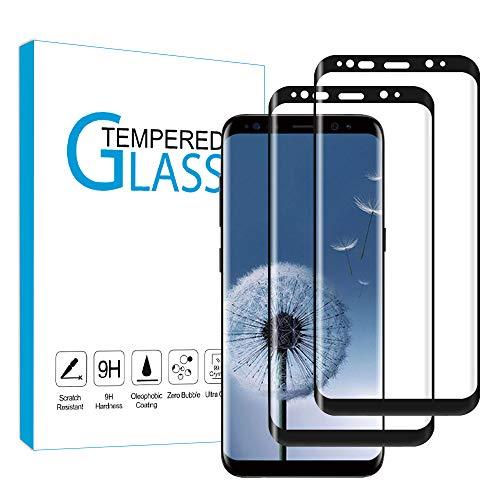 wsky [2 Stück] Panzerglas Schutzfolie für Samsung Galaxy S8, Anti Fingerprint, Kratzfest, 9H-Härte Displayschutzfolie, HD- Panzerglasfolie für Samsung S8(Schwarz)