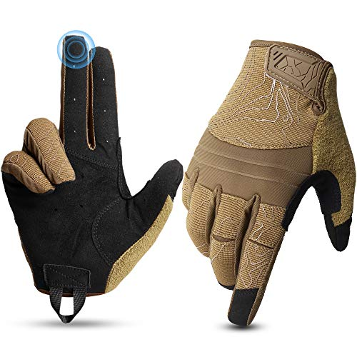 YOSUNPING Touch Screen Shooting Gloves Full Dexterity Tactical Gloves Men for Airsoft Paintball Military Army Driving Motorcycle Hunting Work Protection Guard Gear Garden Full Finger Gloves Brown L