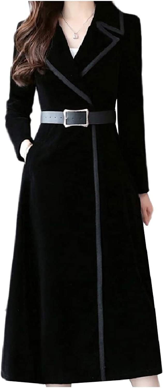 Zimase Women Pleuche Fashion Smocked Waist Classic Jacket Trenchcoat