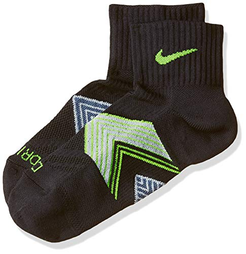 Nike One-Quarter Socks Running Dri Fit Cushioned Calcetines, Unisex Adulto, (Black/Grey/Yellow), M (38-42)