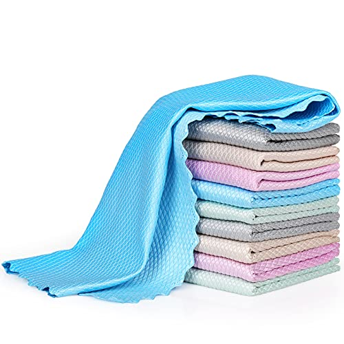 Bigqin 10 Pieces Cleaning Cloth, Fish Scale Microfiber Cloth Surface No...