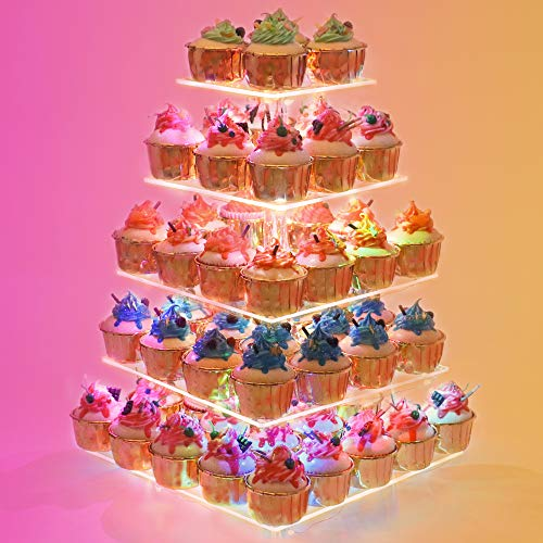 YestBuy Cupcake Stand – 5 Tier Premium Cupcake Holder – Acrylic Cupcake Tower Display – Cady Bar Party Décor – Acrylic Display for Pastry + LED Light String – Ideal for Weddings, Birthday (Colorful)