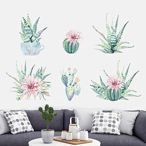 HCCY Garden Fresh cactus bank achtergrond Muurstickers handgeschilderde bloempot plant potten trap gang decoratieve stickers 165 * 35cm