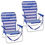 Pack de 2 sillas Playa fijas de Asiento bajo de Aluminio y textileno de 54x40x71 cm (Azul y Blanco)
