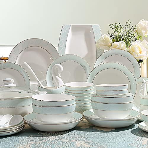 Juego de vajilla de porcelana de 56 piezas, juego de vajilla con platos de postre redondos, platos de sopa, platos de cena, cuencos, sopa, olla de servicio para 12 personas con borde dorado