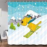 JAWO Lustiger Schneeflocken-Duschvorhang für Kinder-Badezimmer, Cartoon-Design, wasserfest, 177,8 x 177,8 cm