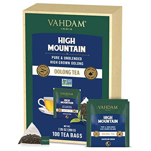 VAHDAM, Himalayan Oolong Tea Bags (100 Tea Bags) - 100% Natural Detox Tea | Oolong Tea Loose Leaf in Pyramid Tea Bags | 100% Pure, Unblended Oolong Tea | Easy Brew - Hot, Iced or Kombucha Tea