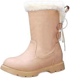 FANIMILA Women Girls Winter Flat Shoes Warm Mid Claf Boots