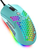 Wired Lightweight Gaming Mouse,PAW3325 12000DPI Mice11 RGB Backlit Mice with 7 Buttons Programmable Driver,Ultralight Honeycomb Shell Ultraweave Cable Mouse for PC Gamers (Green)