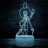 Lámpara de ilusión óptica 3D Tony Chopper 16 colores LED luz de noche con control táctil regalos de cumpleaños de Navidad para niños-P2