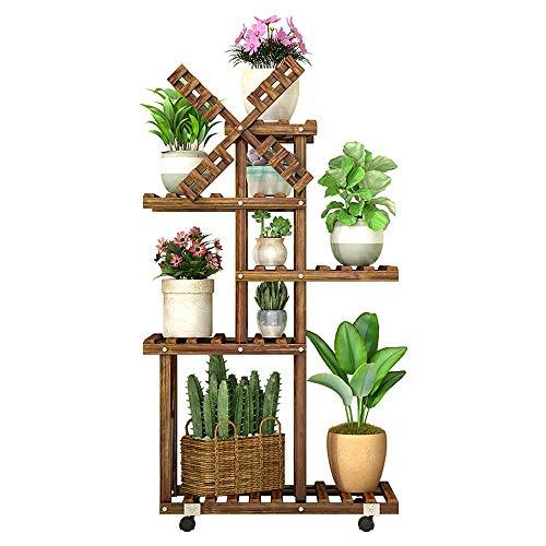 GFHJ1201 Bloemenrek, meerlagig indoor-bijzonder rek massief hout vleesachtig stand-bloempot plank voor balkon-woonkamer