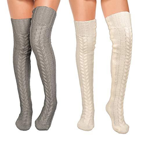 Whaline Oberschenkelhohe Mohair-Socken, weiß-grau, gestrickte Socken, Overknee-Socken, 2er-Pack, hohe Stiefel, Oberschenkel, Damensocken, hoher Stiefel, Strumpf für Cosplay, Alltag