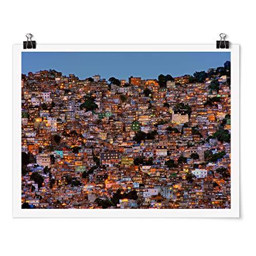 Bilderwelten Poster - Rio de Janeiro Favela Sonnenuntergang - Querformat 3:4 Glänzend 30x40cm