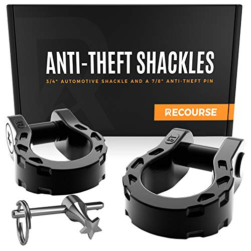 """Tow Hook Shackle 3/4"""" D Ring Shackles with 7/8'' Security Pin (68,000 lbs) Maximum Break Strength - Patented Anti Theft Offroad Accessories for Jeep Vehicle Recovery - 2 Shackles"""