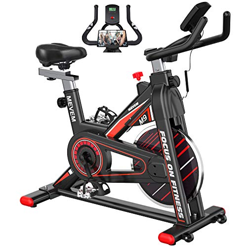 indoor cycles Exercise Bike [2021 Upgraded] MEVEM Stationary Bike, Indoor Cycling Bike with LCD Monitor and Heart Rate Sensor for Home Workout