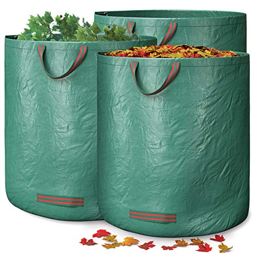 GardenGloss® Gartensack für Grünabfall mit doppeltem Boden (3 Stück) - 272L Gartenabfallsack selbstaufsstellend - Laubsack - Gartensack Pop Up - Gartenabfallbehälter - Grünschnittsack