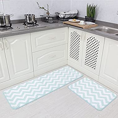 Carvapet 2 Pieces Microfiber Chevron Non-Slip Soft Kitchen Mat Bath Rug Doormat Runner Carpet Set, 17 x48 +17 x24 , Aqua