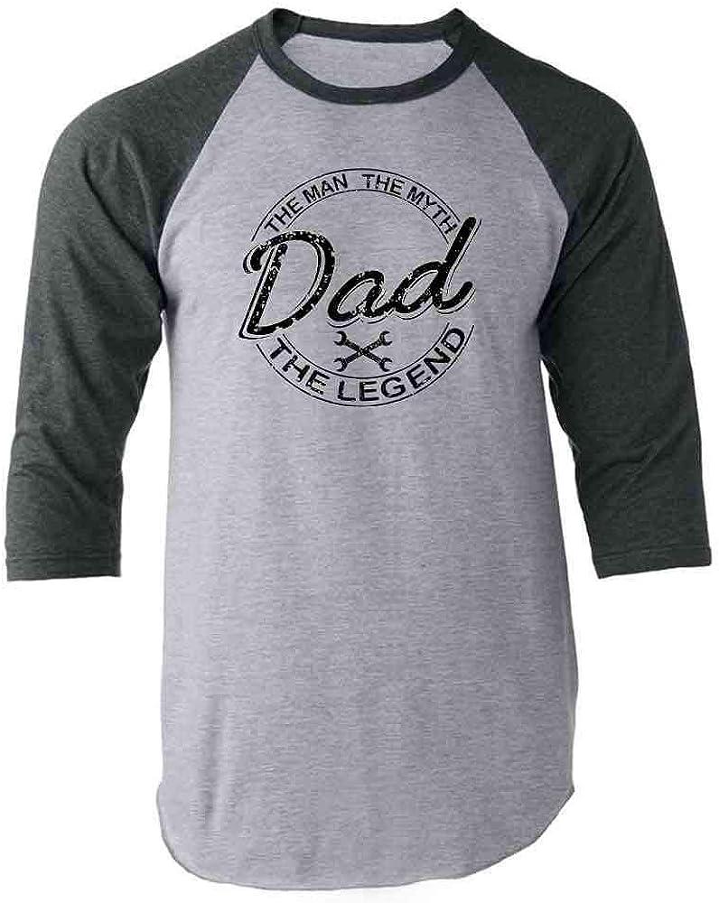Pop Threads Dad The Man The Myth The Legend Gift for Dad Gray 2XL Raglan Baseball Tee Shirt