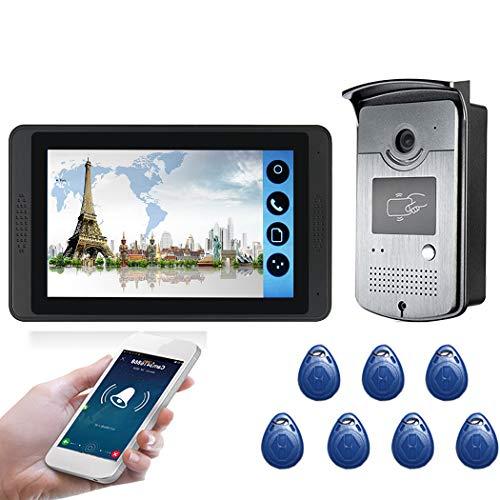 TYXS 7'' Videoportero WiFi Cableado, Cámara Impermeable LCD Monitor, Control Remoto de App, Audio Bidireccional, Visión Nocturna, Intercomunicador Manos Libres, Desbloqueo Remoto