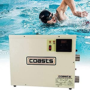 1.(New Brand:Coasts)316# stainless steel, Best in its class 2.30000 Btu/Hr heating capacity, 9KW 3.Suitable for pools up to 5000 gallons in coastal climates 4.Suitable for ALL Hot Tubs,Above Ground Inground Pool Swimming Pool. 5.240 Volts 37.5A - 60 ...