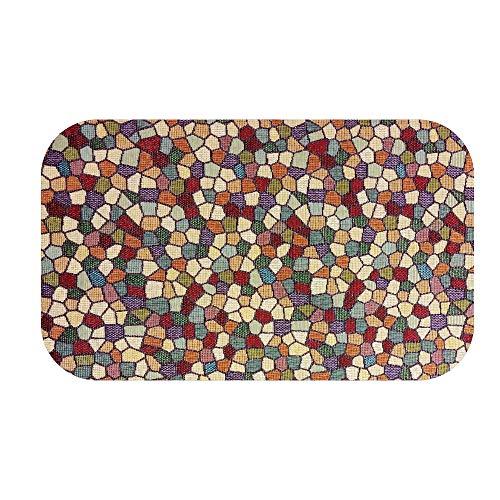 DecoHomeTextil Badematte Badteppich Badezimmerteppich Badvorleger Duschmatte Mosaik Bunt Steine 65 x 110 cm Eckig abwischbar Bodenmatte Bodenbelag