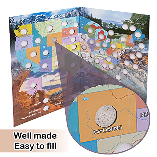 National Parks Quarter Coin Collection Book Folder Map Children Birthday Educational Gift for Collectors, Him or Her (No Coin)