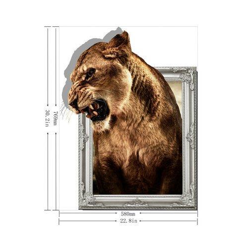 ZHFC- -la télé 3D Tapisserie Murale Chambre contexte HD 77cm Papier autoadhésif Lion Autocollants 58 *