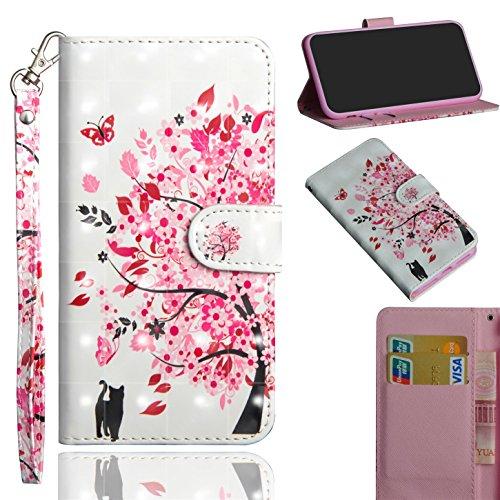 sinogoods Für LG X Power2/X Power 2/M320N/M320F Hülle, Premium PU Leder Schutztasche Klappetui Brieftasche Handyhülle, Standfunktion Flip Wallet Case Cover - Eine Katze unter Einem Baum