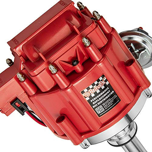 Bravex High Performance Red Cap HEI Distributor for Chevrolet Chevy/gm SBC 283 305 307 327 350 400 BBC 454 396 427 Small/Big Block 65k coil 7500RPM