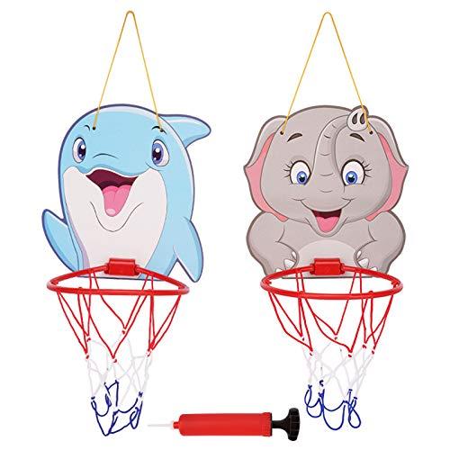 DUTUI Aro De Baloncesto para Niños, Aro De Baloncesto Colgante para Interiores Y Exteriores, Juguetes Montados En La Pared De Dibujos Animados, Regalos De Cumpleaños Y Vacaciones para Niños 2 Piezas