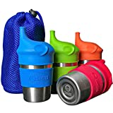SunZio Stainless Steel Non-Spill Sippy Cups for Toddlers and Kids with Silicone Lids   10oz 4 Pack  ...