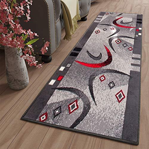 TAPISO Dream Passatoia Camera Corridoio Salotto Moderno Grigio Scuro Design Ondato Motivo Geometrico 70 x 270 cm