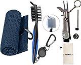 SILENTCARE Accesorios de golf, marcador de pelota de golf multifunción, kit de cepillo y toalla para palos de golf, limpiador de palos de golf, juego de golf de 3 piezas, azul marino