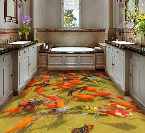 Koi Fish Pond Floor Sticker Wallpaper Kundengebundenes Irgendein Größen-Foto-Tapeten Badezimmer-Fußboden-Selbstklebendes Pvc-Wasserdichtes Tapeten-Wandgemälde Für Wohnzimmer Schlafzimmer