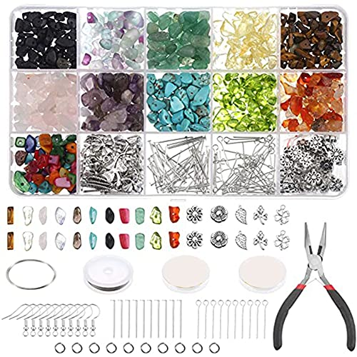 Kaxofang Chips de Cristal y Cuentas de Piedras Preciosas para Hacer Joyas, con Alambre de Joyas, Ganchos, Alicates, Kit de FabricacióN de Joyas para Adultos