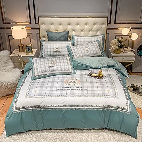 juego de funda nórdica cama 150-Punto de algodón Lavado de agua Seda Gran versión de la ropa de cama de impresión Reino especial Down Set Individual cama doble de una sola almohada regalo-A_Cama de 2