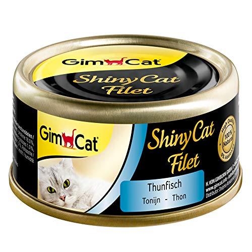 GimCat ShinyCat Filet Thunfisch - Katzenfutter mit saftigem Filet ohne Zuckerzusatz für ausgewachsene Katzen