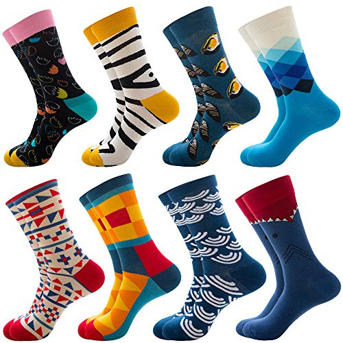 Hicdaw 8Pairs Men's Dress Socks for Fun Colorful Novelty Retro Socks Funny Patterned Art Socks for M - http://coolthings.us