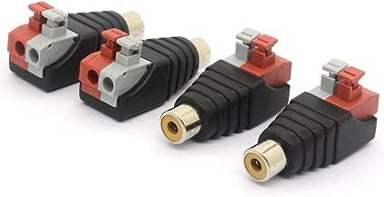 Speaker Phono RCA Male Plug to AV 2 Screw Terminal Female Audio Video Balun Spring Press Type Adapter DC Power Connector for CCTV (RCA Female)