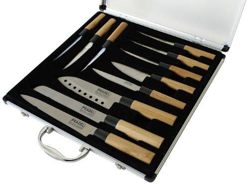 Pradel Excellence - KN2009-11, Set di 11 coltelli con manico in bambù (5 da cucina e 6 da bistecca), incl. valigetta