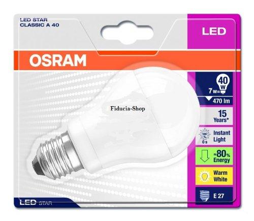 36 x Osram LED Star Classic A40 7 Watt ersetzt 40 Watt, Sockel E27, extra warmton - 827, Normallampenform, 230 V 42169B1 2700K