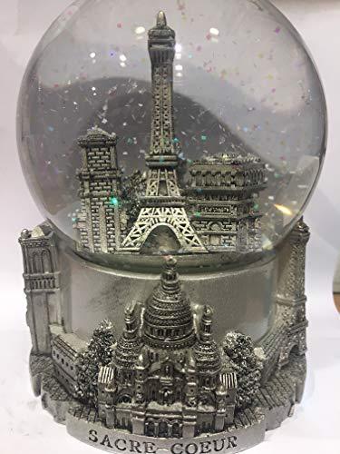 Bola de nieve de la Torre Eiffel y otros monumentos de París,...