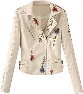 Women Jacket Coat, Ladies Embroidered Long Sleeve Zipper Slim Leather Jacket Outwear