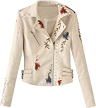 NANTE Top Loose Women's Blouse Long Sleeve Embroidered Studded Zipper Slim Leather Jacket Coat Outwear Overcoat