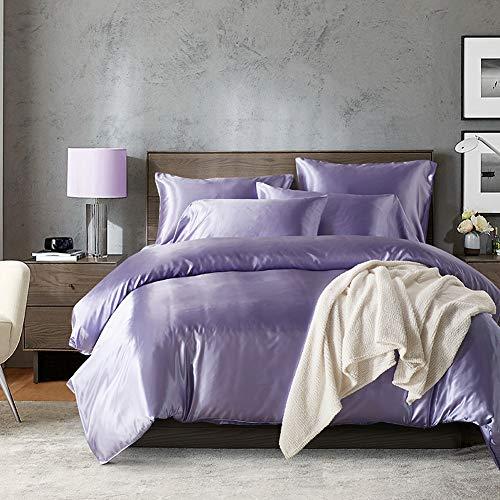 HYSENM Parure de lit Satin Lisse Housse de Couette avec Taie d'oreiller Confortable Soyeux Brillant Doux au Toucher, Violet 200_x_200_cm